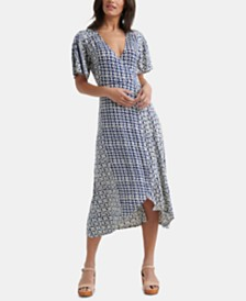 Lucky Brand Printed Wrap High-Low Dress