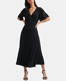 Lucky Brand Flutter-Sleeve Wrap Dress