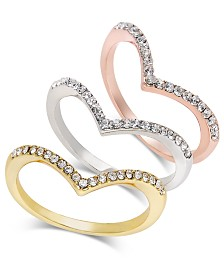 I.N.C. Tri-Tone 3-Pc Set Crystal Chevron.Stackable Rings, Created for Macy's