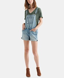 Lucky Brand Cotton Boyfriend Overall Shorts