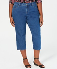 Charter Club Petite Plus Size Tummy-Control Cropped Jeans, Created for Macy's