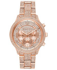 Women's Chronograph Runway Rose Gold-Tone & Crystal Bracelet Watch 43mm