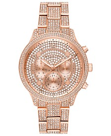 Michael Kors Women's Chronograph Runway Rose Gold-Tone & Crystal Bracelet Watch 43mm