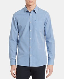 Calvin Klein Men's Extra-Fine Cotton Gingham Slim-Fit Shirt