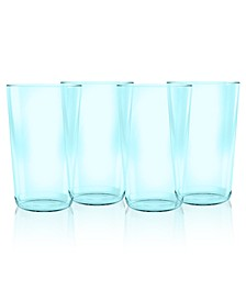 Simple Aqua Jumbo Plastic Glasses, Set of 4