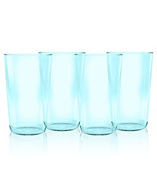 TarHong Simple Aqua Jumbo Plastic Glasses, Set of 4