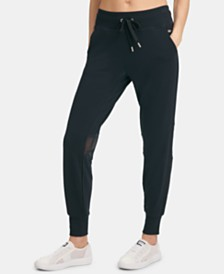 DKNY Sport Mesh-Trimmed Cropped Joggers, Created for Macy's