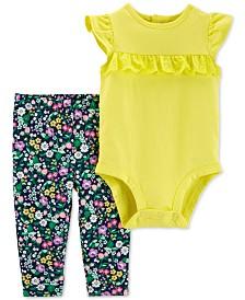 Carter's Baby Girls Ruffled Cotton Bodysuit & Floral-Print Pants Set