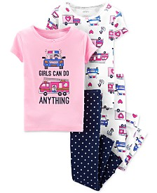 Carter's Baby Girls 4-Pc. Rescue Vehicles Cotton Pajamas Set