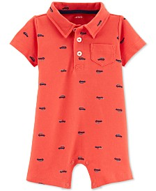 Carter's Baby Boys Car-Print Polo Cotton Romper