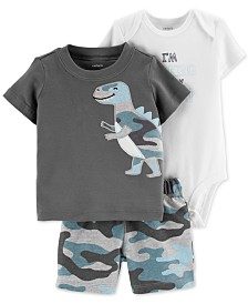 Carter's Baby Boys 3-Pc. Camo Dino Cotton T-shirt, Bodysuit & Shorts