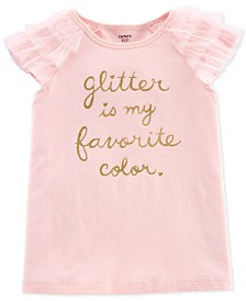 Carter's Little Girls Glitter-Print Ruffle Top