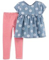 3e7251c11 Carter s Baby Girls 2-Pc. Dot-Print Chambray Tunic   Leggings Set