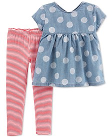 Carter's Baby Girls 2-Pc. Dot-Print Chambray Tunic & Leggings Set