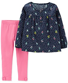 Carter's Baby Girls 2-Pc. Bouquet-Print Tunic & Leggings Set