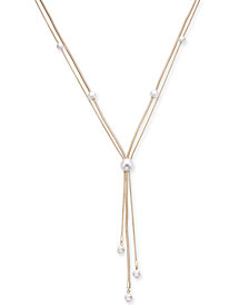 "Alfani Gold-Tone Imitation Pearl Lariat Necklace, 24"" + 2"" extender, Created for Macy's"