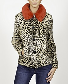 Animal Fur Jacket with Collar