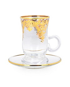 Set 6 Tea Cups 24K Gold Artwork