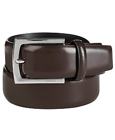 Calvin Klein Men's Semi-Shine Feather-Edge Leather Belt