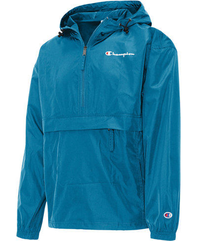Champion Men's Packable Half-Zip Hooded Water-Resistant Jacket
