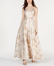 Calvin Klein Metallic-Brocade Gown