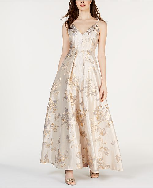 Calvin Klein Metallic-Brocade Gown