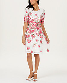 Charter Club Floral-Print Lace Dress, Created for Macy's