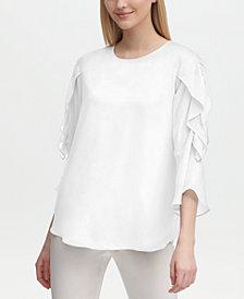Calvin Klein Sheer Ruffled Sleeve Blouse