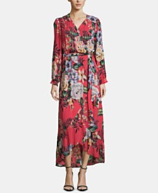ECI Floral-Print Faux-Wrap Dress