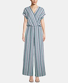 Striped Surplice Kimono Jumpsuit