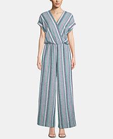 ECI Striped Surplice Kimono Jumpsuit