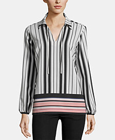 ECI Striped Tie-Neck Blouse