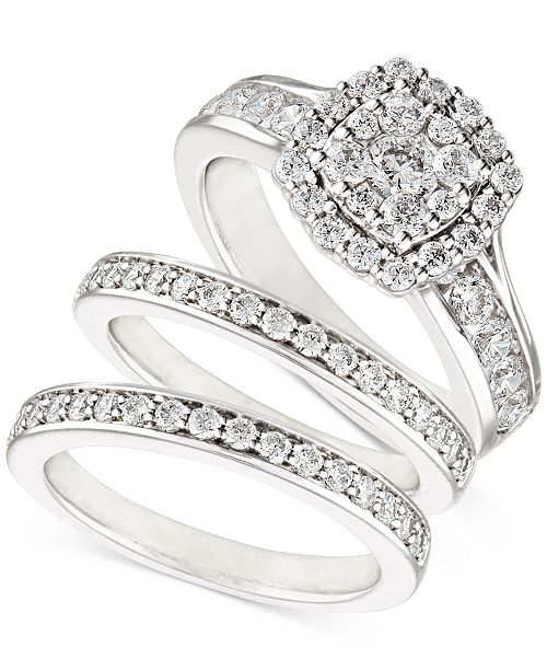 Macy's Diamond  Three-Piece Ring Set (2 ct. t.w.) in 14k White, Yellow and Rose Gold