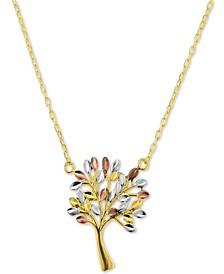 "Tricolor Family Tree 17-1/2"" Pendant Necklace in 14k Gold"