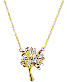 """Tricolor Family Tree 17-1/2"""" Pendant Necklace in 14k Gold"""