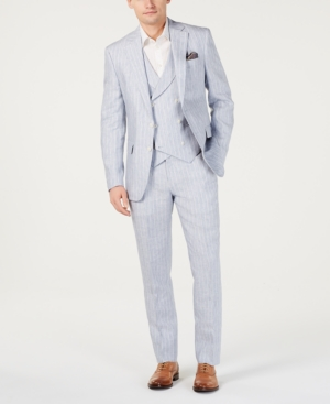 1920s Mens Suits   Gatsby, Gangster, Peaky Blinders Tallia Orange Mens Slim-Fit Linen Light Gray Vested Suit $209.99 AT vintagedancer.com