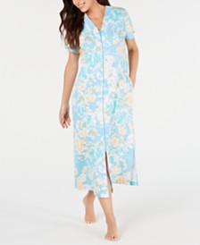 Miss Elaine Flower-Print Interlock-Knit Zip-Up Long Robe