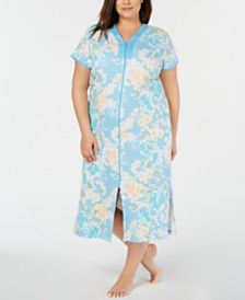 Miss Elaine Plus-Size Flower-Print Interlock Knit Zip-Up Robe