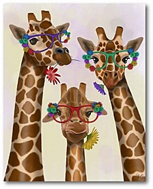 """Giraffe and Flower Glasses Trio Gallery-Wrapped Canvas Wall Art - 16"""" x 20"""""""