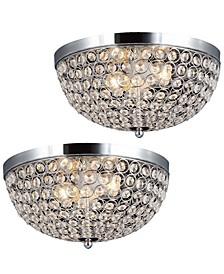 Elegant Designs 2 Light Elipse Crystal Flush Mount Ceiling Light 2 Pack