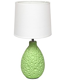 Simple Designs Textured Stucco Ceramic Oval Table Lamp