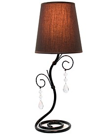 Simple Designs Twisted Vine Table Lamp with Fabric Shade and Hanging Crystals