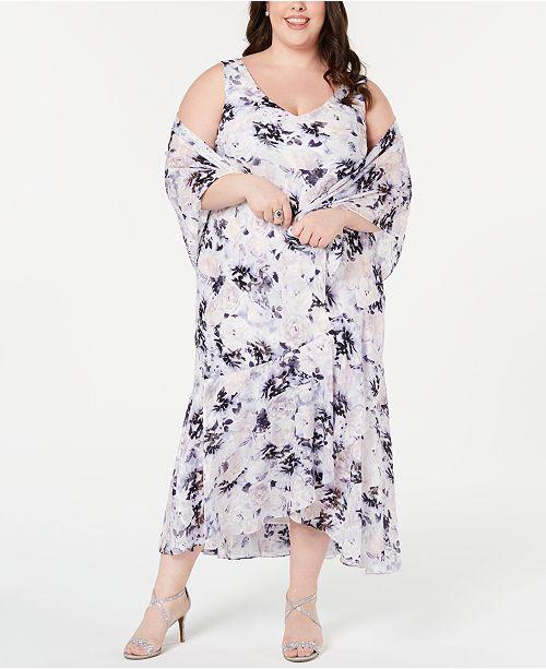 Alex Evenings Plus Size Floral-Print Shawl & High-Low Dress