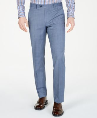 Men's Classic-Fit Airsoft Stretch Light Blue Windowpane Suit Pants