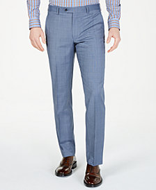 Michael Kors Men's Classic-Fit Airsoft Stretch Light Blue Windowpane Suit Pants