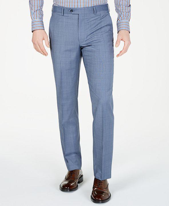 Michael Kors Men's Classic-Fit Airsoft Stretch Light Blue Windowpane Suit Pants