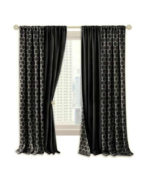 Achim Prelude Reversible Blackout Rod Pocket Curtain Panel, 50x84