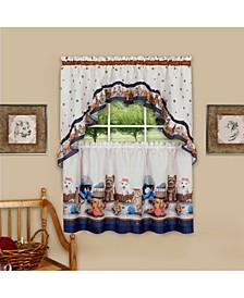 Precious Printed Tier and Swag Window Curtain Set, 57x36