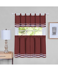 Dakota Window Curtain Tier Pair and Valance Set, 58x24