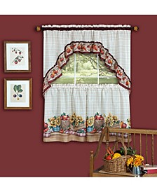 Farmer's Market Printed Tier and Swag Window Curtain Set, 57x36